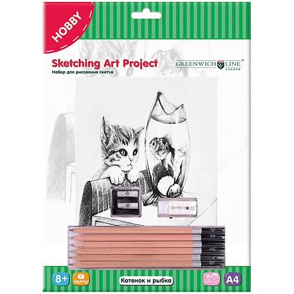 Купить Набор для рисования скетча Greenwich Line «Котенок и рыбка», Китай, Унисекс