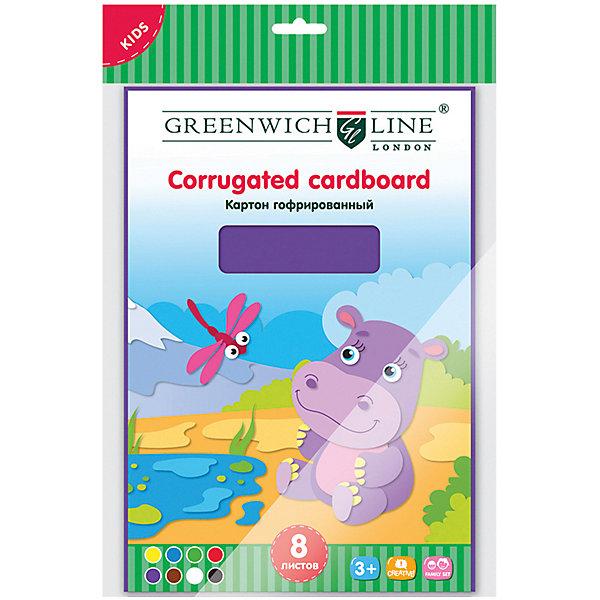 Набор гофрированного картона Greenwich Line A4, 8 листовЦветная бумага и картон<br>Характеристики:<br><br>• возраст: от 3 лет;<br>• тип: картон цветной;<br>• формат: А4;<br>• в комплекте: 8 листов;<br>• количество цветов: 5;<br>• плотность: 190 г/кв.м;<br>• размер внутреннего блока: 20х29 см;<br>• особенности: мелованный, целлюлозный, двусторонний, гофрированный;<br>• дизайн блока: однотонный;<br>• упаковка: пакет с замком и европодвесом;<br>• вес упаковки: 124 гр.;<br>• размер упаковки: 30х20х1 см;<br>• страна бренда: Великобритания.<br><br>Набор гофрированного картона Greenwich Line является удобным материалом для создания детских поделок, аппликаций. Он может легко скручиваться и сминаться без дополнительных усилий. Благодаря тому, что гофрированный картон плотный, поделки из него получаются крупные, подходит для создания объемных фигур.<br><br>Набор гофрированного картона Greenwich Line (Гринвич Лайн) A4, 8 листов можно купить в нашем интернет-магазине.<br>Ширина мм: 300; Глубина мм: 200; Высота мм: 10; Вес г: 124; Возраст от месяцев: 36; Возраст до месяцев: 2147483647; Пол: Унисекс; Возраст: Детский; SKU: 8276532;