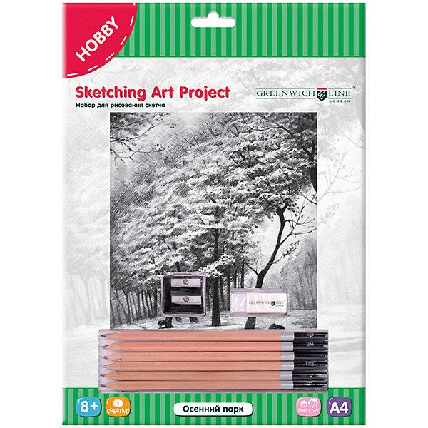 Набор для рисования скетча Greenwich Line «Осенний парк», Китай, Унисекс  - купить со скидкой