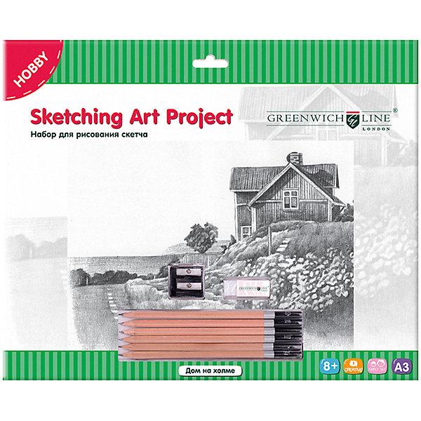 Купить Набор для рисования скетча Greenwich Line «Дом на холме», Китай, Унисекс