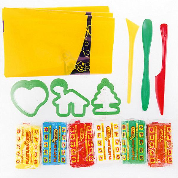 Пластилин JOVI, 6 цветовНаборы для лепки игровые<br>Характеристики:<br><br>• возраст: от 2 лет; <br>• в комплекте: 6 цветов, формочки, стеки, клеенка, ведро;<br>• материал: пластилин; <br>• количество цветов: 6; <br>• размер упаковки: 14,7х14,7х11 см;<br>• вес в упаковке: 485 гр.;<br>• упаковка товара: пластиковое ведро; <br>• страна бренда: Испания.<br><br>Набор пластилина JOVI (Джови) состоит из 6 цветов: красный, коричневый, светло-зеленый, светло-синий, белый, желтый. Пластилин на растительной основе обладает повышенной пластичностью, хорошо лепится, не оставляет пятен. Работая с пластилином, ребенок развивает ловкость рук, общую моторику, осязательные навыки, воображение.<br><br>Пластилин JOVI (Джови), 6 цветов можно купить в нашем интернет-магазине.<br>Ширина мм: 147; Глубина мм: 147; Высота мм: 110; Вес г: 485; Возраст от месяцев: 24; Возраст до месяцев: 2147483647; Пол: Унисекс; Возраст: Детский; SKU: 8276620;