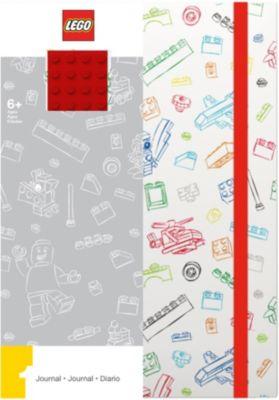 Книга для записей (96 листов, линейка) с резинкой LEGO, цвет: красный, белый, артикул:8287517 - Бумажная продукция