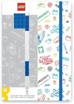 Книга для записей (96 листов, линейка) с синей гелевой ручкой LEGO, цвет: синий, белый, артикул:8287519 - Бумажная продукция