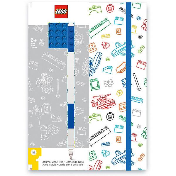 Книга для записей (96 листов, линейка) с синей гелевой ручкой LEGO, цвет: синий, белый