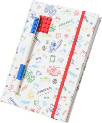 Книга для записей (96 листов, линейка) с синей гелевой ручкой LEGO, цвет: красный, белый, артикул:8287521 - Бумажная продукция