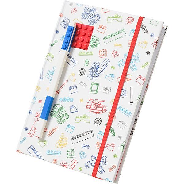 Купить Книга для записей (96 листов, линейка) с синей гелевой ручкой LEGO, цвет: красный, белый, Китай, Унисекс