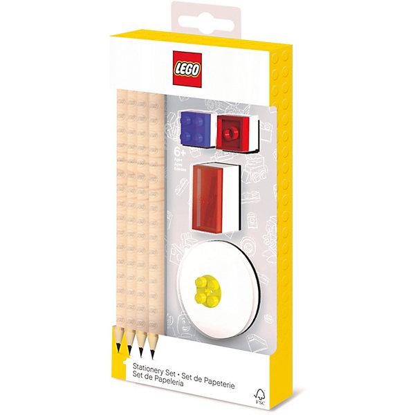 LEGO Набор канцелярский: 4 карандаша, 2 насадки, 1 точилка, 1 ластик.