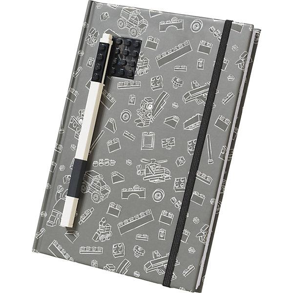 LEGO Книга для записей (96 листов, линейка) с черной гелевой ручкой LEGO, цвет: черный, серый lego книга для записей 96 листов линейка с резинкой lego ninjago movie лего фильм ниндзяго kai