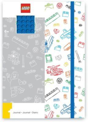 Книга для записей (96 листов, линейка) с резинкой LEGO, цвет: синий, белый, артикул:8287529 - Бумажная продукция