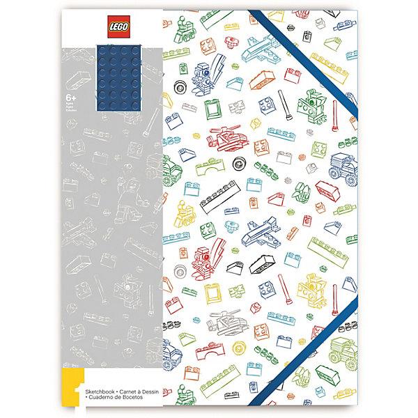LEGO Альбом для рисования A4 (96 листов) LEGO, цвет: белый с синим кубиком