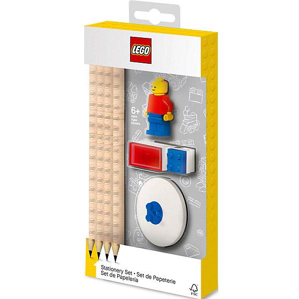 LEGO Набор канцелярский с минифигурой: 4 карандаша, 1 насадка, 1 точилка, 1 ластик.