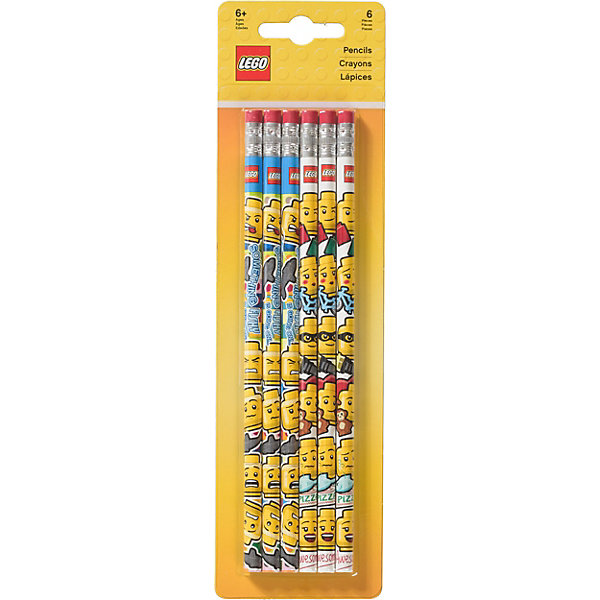 LEGO Набор из 6 карандашей с ластиками.LEGO iconic (смайлик) lego friends набор чернографитных карандашей 6 шт 51594