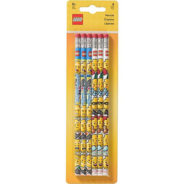 LEGO Набор из 6 карандашей с ластиками.LEGO iconic (смайлик)