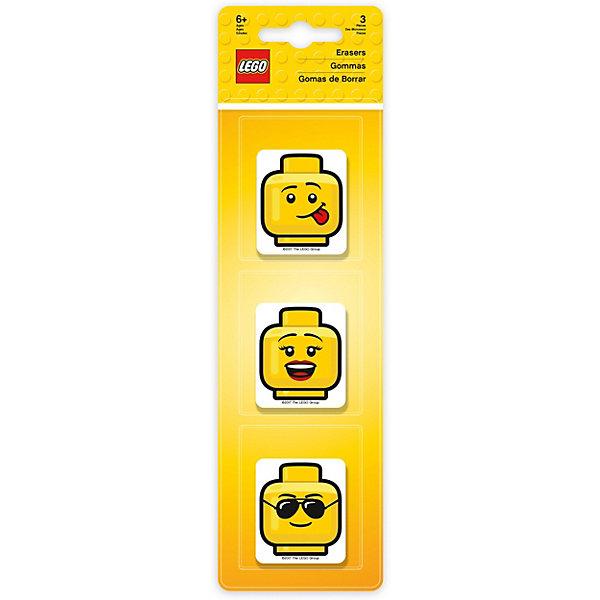 Набор ластиков LEGO (3 шт., цвет: желтый) LEGO iconic (смайлик)Ластики и точилки<br>Характеристики:<br><br>• возраст: от 3 лет;<br>• материал: резина;<br>• в наборе: 3 ластика;<br>• цвет: желтый;<br>• размер упаковки: 25х7х2 см;<br>• вес: 104 гр.<br><br>Ластик подходит для стирания графитовых рисунков и надписей, не оставляет разводов, не царапает поверхность.<br><br>Набор ластиков LEGO можно купить в нашем интернет-магазине.