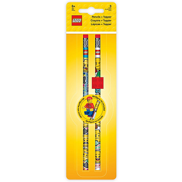 Набор карандашей (2 шт.) с 1 насадкой в форме кирпичика LEGO iconic (смайлик)Чернографитные<br>Характеристики:<br><br>• возраст: от 3 лет;<br>• материал: дерево, пластик;<br>• в наборе: 2 карандаша, 1 насадка LEGO;<br>• грифель: твердо-мягкий;<br>• размер упаковки: 25х7х7 см;<br>• вес: 35 гр.<br><br>Набор из 2 карандашей с насадкой кирпичиком LEGO iconic (смайлик) подойдет для школы или творческих кружков. <br><br>Канцелярский набор LEGO можно купить в нашем интернет-магазине.<br>Ширина мм: 70; Глубина мм: 20; Высота мм: 248; Вес г: 31; Цвет: красный; Возраст от месяцев: 36; Возраст до месяцев: 2147483647; Пол: Унисекс; Возраст: Детский; SKU: 8287553;