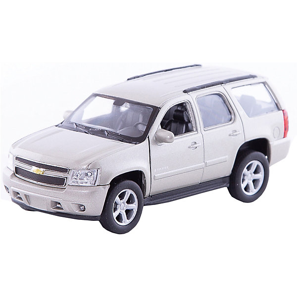 Модель машины 1:34-39 Chevrolet Tahoe, Welly, сераяМашинки<br>Характеристики:<br>• возраст: 3+;<br>• материал: пластик, металл, резина;<br>• масштаб: 1:34-39;<br>• упаковка: картонная коробка;<br>• габариты упаковки: 5х12х6 см;<br>• вес: 150 г.<br>Модель машины Chevrolet Tahoe - замечательный подарок для автолюбителей и коллекционеров всех возрастов. Машинка отличается высокой степенью детализации и тщательной проработкой элементов. Корпус игрушки выполнен из металла, а декоративные элементы из пластика.<br>Копия настоящего автомобиля выполнена в масштабе 1:34-39. Модель оснащена прочным лобовым стеклом, системой управления и деталями интерьера салона. Передние двери открываются.<br>Автомобиль имеет инерционный механизм, ускоряется при толчке.<br>Модель машины Chevrolet Tahoe 1:34-39 (серая), Welly можно приобрести в нашем интернет-магазине.<br>Ширина мм: 140; Глубина мм: 60; Высота мм: 110; Вес г: 163; Цвет: серый; Возраст от месяцев: 36; Возраст до месяцев: 192; Пол: Мужской; Возраст: Детский; SKU: 8290045;