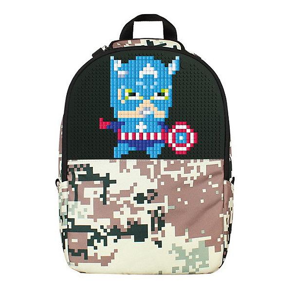 Рюкзак школьный Upixel «Camouflage Backpack», зеленыйРюкзаки<br>Характеристики:<br><br>? возраст: от 5 лет;<br>? тип: рюкзак;<br>? материал: 100% нейлон;<br>? подкладка: 100% полиэстер;<br>? панель: 100% силикон;<br>? цвет: зеленый;<br>? объем: 19 литров;<br>? пиксели: 120 шт. 7х7 мм;<br>? поверхность: 42 рядов, 29 линий;<br>? количество точек: 1180;<br>? размер товара: 14,5х43х31,5 см;<br>? вес упаковки: 720 г;<br>? страна бренда: Китай.<br><br>Рюкзак камуфляж Upixel «Camouflage Backpack» (Юпиксел Камоуфлаж Бекпак), обладающий силиконовой панелью, на которой с помощью «пикселей» в виде мозаики возможно выложить любой рисунок.<br><br>Представленный товар сертифицирован и создан из экологически чистых материалов. Качество же материала с его водонепроницаемым свойством позволит сохранить в целости учебники при влажной, снежной погоде.<br><br>Рюкзак оснащён внешними карманами на липучках для бутылочек или термосов, регулируемыми по длине лямками с креплениями из пластика. Рядом с ручкой расположен мини кармашек. На спине в основании есть плотно прилегающий карман. Внутри за пиксельной панелью расположен сетчатый карман на молнии, по спинке карман с уплотнёнными стенками и дополнительными четырьмя кармашками по внешней стороне, обычный открытый, один закрытый на липучке и два узких.<br><br>Для  воплощения  своих  фантазий  можно  докупать  пиксельные  фишки  размера  7х7 мм  или  готовые  наборы  картинок  с  фишками аналогичного  размера. <br><br>Рюкзак камуфляж Upixel «Camouflage Backpack» (Юпиксел Камоуфлаж Бекпак), зеленый можно купить в нашем интернет-магазине.<br>Ширина мм: 145; Глубина мм: 430; Высота мм: 315; Вес г: 720; Цвет: темно-зеленый; Возраст от месяцев: 60; Возраст до месяцев: 2147483647; Пол: Унисекс; Возраст: Детский; SKU: 8291264;