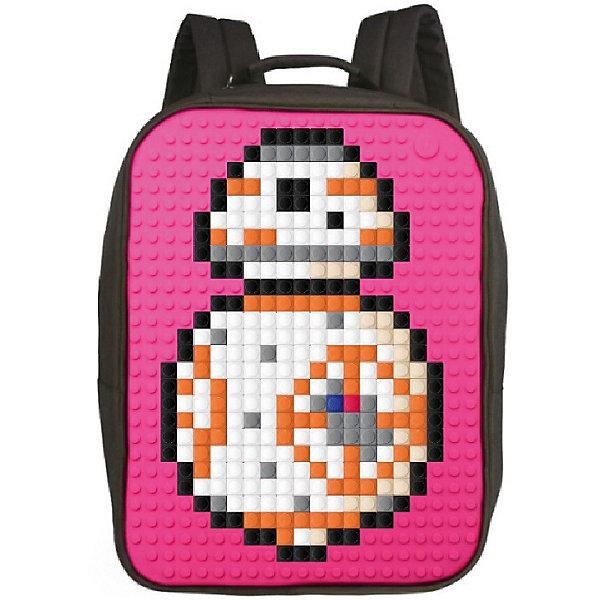 Upixel Пиксельный рюкзак большой (ортопедическая спинка) Upixel «Canvas classic pixel Backpack», фуксия рюкзак sprayground pixel shark backpack b188 multicolor