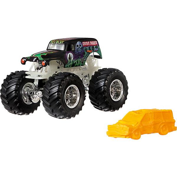 Базовая машинка Hot Wheels Monster Jam Grave DiggerМашинки<br>Характеристики:<br><br>• возраст: от 3 лет;<br>• материал: пластик, металл;<br>• вес упаковки: 170 гр.;<br>• размер упаковки: 6х14х18 см;<br>• страна бренда: США.<br><br>Машинка Monster Jam Hot Wheels от Mattel обладает внушительными колесами с поверхностью шин как у настоящих внедорожников. Яркий прорисованный дизайн кузова делает машинку ценным экземпляром коллекции Hot Wheels. Сделано из прочных качественных материалов.<br><br>Базовую машинку, Monster Jam можно купить в нашем интернет-магазине.<br>Ширина мм: 60; Глубина мм: 140; Высота мм: 180; Вес г: 170; Возраст от месяцев: 48; Возраст до месяцев: 96; Пол: Мужской; Возраст: Детский; SKU: 8300877;