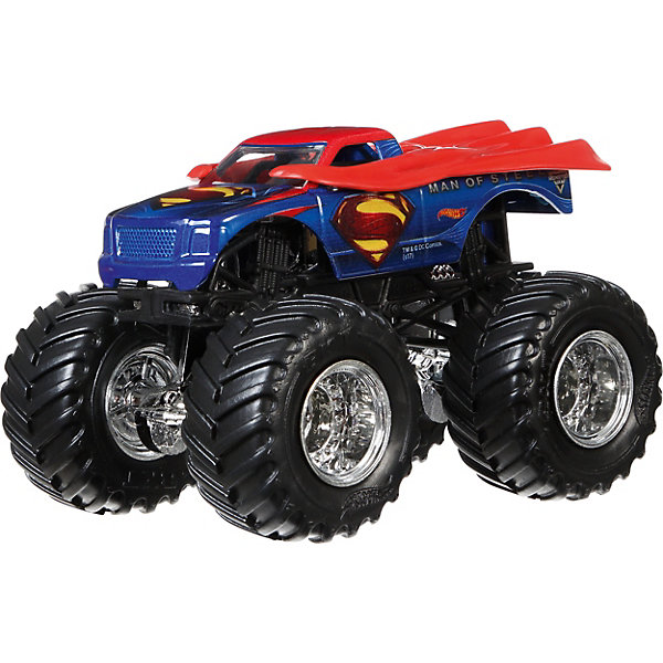 Машинка Hot Wheels Monster Jam, СуперменМашинки<br>Характеристики:<br><br>• возраст: от 3 лет;<br>• материал: пластик, металл;<br>• масштаб: 1:64;<br>• вес упаковки: 130 гр.;<br>• размер упаковки: 6,5х14х17,5 см;<br>• страна бренда: США.<br><br>Машинка Monster Jam Hot Wheels от Mattel обладает внушительными колесами с поверхностью шин как у настоящих внедорожников. Яркий прорисованный дизайн кузова делает машинку ценным экземпляром коллекции Hot Wheels. Сделано из прочных качественных материалов.<br><br>Машинку 1:64, Monster Jam, Hot Wheels можно купить в нашем интернет-магазине.<br>Ширина мм: 65; Глубина мм: 140; Высота мм: 175; Вес г: 130; Возраст от месяцев: 36; Возраст до месяцев: 84; Пол: Мужской; Возраст: Детский; SKU: 8300893;