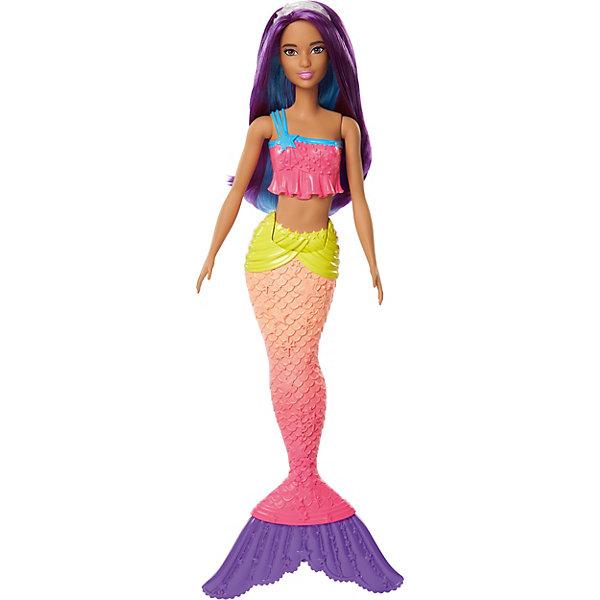 Кукла-русалка Barbie Dreamtopia с фиолетовыми волосами, 29 смКуклы-русалки<br>Характеристики:<br><br>• возраст: от 3 лет;<br>• материал: пластик;<br>• в наборе: кукла, украшение для волос;<br>• высота куклы: 29 см;<br>• вес упаковки: 261 гр.;<br>• размер упаковки: 5,5х11,5х32,5 см;<br>• страна бренда: США.<br><br>Волшебная русалочка Mattel Barbie – невероятно красивая и красочная кукла, с которой можно играть в ванной. У русалочки яркий цветной хвост и соответствующий купальник. Хвост сгибается в талии, куклу можно посадить или имитировать плавательные движения. Ручки подвижны.<br><br>Кроме того, русалочка обладает роскошными цветными волосами, которые можно расчесывать и собирать в прически с украшением из набора. Сделано из качественных безопасных материалов.<br><br>Волшебную русалочку, Barbie можно купить в нашем интернет-магазине.<br>Ширина мм: 55; Глубина мм: 115; Высота мм: 325; Вес г: 261; Возраст от месяцев: 36; Возраст до месяцев: 2147483647; Пол: Женский; Возраст: Детский; SKU: 8300899;