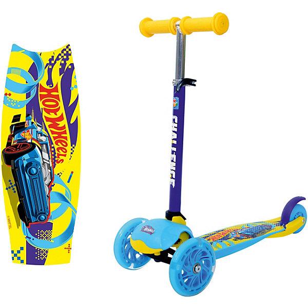 Трёхколёсный самокат 1Toy Hot Wheels, голубойHot Wheels<br>Характеристики:<br><br>• возраст: от 3 лет;<br>• материал: пластик, нейлон, алюминий;<br>• максимальная нагрузка: 30 кг.;<br>• регулируемая высота руля: 49-65 см ;<br>• диаметр колес: передние – 12 см, заднее – 9 см;<br>• размер самоката: 55х12х65 см;<br>• ширина деки: 12 см;<br>• вес упаковки: 2,03 кг.;<br>• размер упаковки: 57х28х15 см;<br>• страна бренда: Россия.<br><br>Самокат 1Toy Hot Wheels подойдет для городских прогулок по ровному асфальту. Три колеса обеспечивают большую устойчивость и подготовят ребенка к использованию первого взрослого самоката.<br><br>Увеличенные передние колеса улучшает проходимость. Ручки руля удобны для захвата, поверхность деки нескользящая. Самокат управляется с помощью наклона руля. Сделан из прочных надежных материалов.<br><br>Самокат Hot Wheels можно купить в нашем интернет-магазине.<br>Ширина мм: 570; Глубина мм: 280; Высота мм: 150; Вес г: 2033; Цвет: голубой; Возраст от месяцев: 60; Возраст до месяцев: 2147483647; Пол: Унисекс; Возраст: Детский; SKU: 8300974;