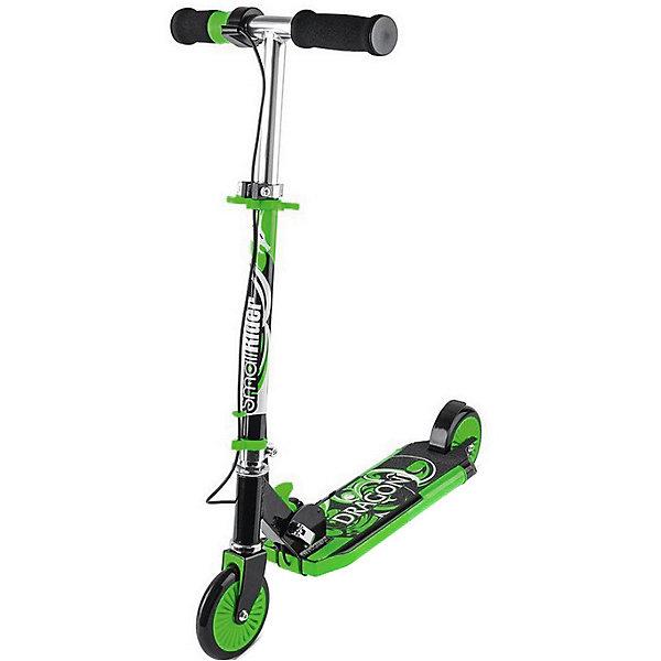 """Самокат Small Rider «Dragon», зеленыйСамокаты<br>Характеристики:<br><br>• возраст: от 3 лет;<br>• тип: самокат;<br>• цвет: зеленый;<br>• особенности: с дымом, звуком, светом;<br>• складной;<br>• диаметр колес: 12 см;<br>• максимальная нагрузка: 60 кг;<br>• регулировка руля по высоте;<br>• тормоз: ножной;<br>• размер упаковки: 60х20х40 см;<br>• вес упаковки: 3,2 кг;<br>• страна бренда: Российская Федерация.<br><br>Самокат Small Rider «Dragon (Смолл Райдер Дракон) это современный, развлекательный двухколесный самокат для детей от трех лет. Рукоятка-акселератор, при кручении которой самокат выпускает сзади платформы водяной дым, загораются фонари и звучит рев мотора.<br><br>За все это отвечают обычные пальчиковые батарейки, которые потом легко и быстро заменяются (они не идут в комплекте). В центре платформы самоката отверстие, через которое пополняется резервуар для воды.<br><br>С помощью водяного охлаждения вода превращается в безопасный пар и как настоящий дым мотоцикла идет через """"выхлопную трубу"""". Руль регулируется по высоте, что позволит ребенку выставить наиболее удобный уровень по росту.<br><br>Самокат Small Rider «Dragon»(Смолл Райдер Дракон), зеленый можно купить в нашем интернет-магазине.<br>Ширина мм: 600; Глубина мм: 200; Высота мм: 400; Вес г: 3200; Цвет: зеленый; Возраст от месяцев: 36; Возраст до месяцев: 120; Пол: Унисекс; Возраст: Детский; SKU: 8302643;"""