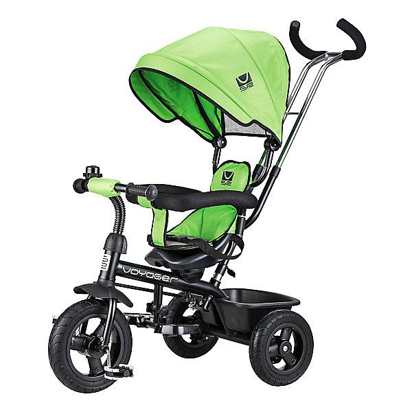 Трехколесный велосипед Small Rider «Voyager», зеленыйВелосипеды и аксессуары<br>Характеристики:<br><br>• возраст: от 1 года;<br>• цвет: зеленый;<br>• максимальная нагрузка: для сидения 25 кг;<br>• диаметр колес: переднее 10 дюймов, заднее 8 дюймов;<br>• материал покрышек: резина;<br>• ручка для родителей: телескопическая, двойная;<br>• управление рулем;<br>• козырек (капор): глубокий, с сеткой для контроля мамой;<br>• тип сидения: вращаемое, со вкладышем и мягким подголовником;<br>• ремни безопасности;<br>• подножка: складная;<br>• корзина для вещей;<br>• рукоятки: резиновые, эргономичные;<br>• аксессуары: звонок;<br>• тормоз: тормоза-стопперы на задние колеса;<br>• размеры велосипеда: 88х50х160 см;<br>• вес велосипеда: 10 кг;<br>• размеры упаковки: 69х38х28 см;<br>• вес упаковки: 11 кг.<br>• страна бренда: Российская Федерация.<br><br>Трехколесный велосипед Small Rider «Voyager» (Смолл Райдер Вояджер) имеет круглую крышу-капор, и, по совокупности возможностей, является хорошей альтернативой прогулочной коляске. Сиденье вращается и может быть в двух положениях.<br>Сиденье может быть установлено в положениях как «лицом к дороге», так и «лицом к родителю».<br><br>Велосипед имеет ремни безопасности, складную подножку, мягкое сиденье, спинку, подголовник.<br>Несмотря на обилие функций прогулочной коляски это прежде всего велосипед, поэтому у него есть педали и руль. Ребенок может пытаться рулить, привыкать крутить педали, а также звенеть в звоночек.<br><br>Хорошая управляемость. Велосипед имеет облегченные колеса из ПВХ-материала, которые бесшумно катятся, не шумят на дороге и не прокалываются. Велосипед приводит в движение родитель, налегая на ручку-толкатель, которая также задает направление движения велосипеда.<br><br>Трехколесный велосипед Small Rider «Voyager» (Смолл Райдер Вояджер), зеленый можно приобрести в нашем интернет-магазине.<br>Ширина мм: 600; Глубина мм: 280; Высота мм: 390; Вес г: 9800; Цвет: зеленый; Возраст от месяцев: 12; Возраст до месяцев: 48; Пол: