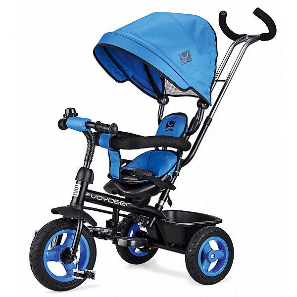 Трехколесный велосипед Small Rider «Voyager», синийВелосипеды и аксессуары<br>Характеристики:<br><br>• возраст: от 1 года;<br>• цвет: синий;<br>• максимальная нагрузка: для сидения 25 кг;<br>• диаметр колес: переднее 10 дюймов, заднее 8 дюймов;<br>• материал покрышек: резина;<br>• ручка для родителей: телескопическая, двойная;<br>• управление рулем;<br>• козырек (капор): глубокий, с сеткой для контроля мамой;<br>• тип сидения: вращаемое, со вкладышем и мягким подголовником;<br>• ремни безопасности;<br>• подножка: складная;<br>• корзина для вещей;<br>• рукоятки: резиновые, эргономичные;<br>• аксессуары: звонок;<br>• тормоз: тормоза-стопперы на задние колеса;<br>• размеры велосипеда: 88х50х160 см;<br>• вес велосипеда: 10 кг;<br>• размеры упаковки: 69х38х28 см;<br>• вес упаковки: 11 кг.<br>• страна бренда: Российская Федерация.<br><br>Трехколесный велосипед Small Rider «Voyager» (Смолл Райдер Вояджер) имеет круглую крышу-капор, и, по совокупности возможностей, является хорошей альтернативой прогулочной коляске. Сиденье вращается и может быть в двух положениях.<br>Сиденье может быть установлено в положениях как «лицом к дороге», так и «лицом к родителю».<br><br>Велосипед имеет ремни безопасности, складную подножку, мягкое сиденье, спинку, подголовник.<br>Несмотря на обилие функций прогулочной коляски это прежде всего велосипед, поэтому у него есть педали и руль. Ребенок может пытаться рулить, привыкать крутить педали, а также звенеть в звоночек.<br><br>Хорошая управляемость. Велосипед имеет облегченные колеса из ПВХ-материала, которые бесшумно катятся, не шумят на дороге и не прокалываются. Велосипед приводит в движение родитель, налегая на ручку-толкатель, которая также задает направление движения велосипеда.<br><br>Трехколесный велосипед Small Rider «Voyager» (Смолл Райдер Вояджер), синий можно приобрести в нашем интернет-магазине.<br>Ширина мм: 600; Глубина мм: 280; Высота мм: 390; Вес г: 9800; Цвет: синий; Возраст от месяцев: 12; Возраст до месяцев: 48; Пол: Мужской