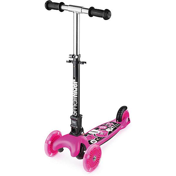 Трехколесный самокат Small Rider «Randy Flash», розовыйСамокаты<br>Характеристики:<br><br>• возраст: от 2 лет;<br>• цвет: розовый;<br>• максимальная нагрузка: 35 кг;<br>• колеса: полиуретановые, все светодиодные;<br>• складной;<br>• рукоятки: пластик;<br>• диаметр колес: переднее 120 мм, заднее 100 мм;<br>• подшипник: ABEC 5;<br>• дека: длина 36, ширина 11 см;<br>• высота от пола до ручки: 67 см;<br>• тормоз: ножной;<br>• размеры самоката: 54х22х51 см;<br>• вес самоката: 1,5 кг.<br><br>Трехколесный самокат Small Rider «Randy Flash» (Смолл РайдерРенди Флеш) управляется с помощью наклонов, Для того, чтобы сделать поворот, ребенку нужно перенести свой вес в одну из сторон и передние колеса самоката сами повернут в необходимую сторону.<br><br>Самокат со складной ручкой. Для контроля скорости, конечно же, есть задний тормоз. Светятся 3 колеса в тон самаката. Сам самокат выполнен в ярком дизайне.<br><br>Трехколесный самокат Small Rider «Randy Flash» (Смолл РайдерРенди Флеш), розовый можно приобрести в нашем интернет-магазине.<br>Ширина мм: 550; Глубина мм: 130; Высота мм: 250; Вес г: 2300; Цвет: розовый; Возраст от месяцев: 24; Возраст до месяцев: 60; Пол: Женский; Возраст: Детский; SKU: 8302745;