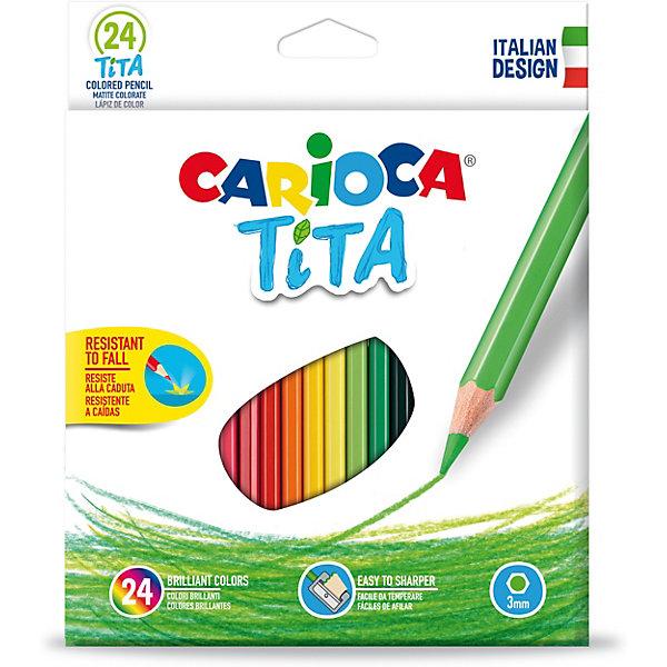 Carioca Набор карандашей цветных пластиковых Carioca Tita, 24 цвета carioca набор крупных цветных карандашей tita maxi 6 цветов