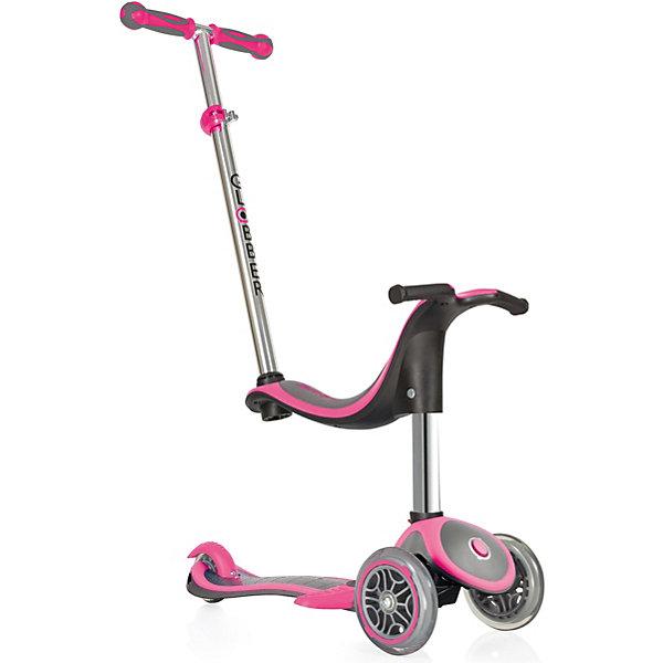 Трехколесный самокат Globber Evo 4 In 1 Plus, розовыйСамокаты<br>Характеристики:<br><br>• возраст: от 12 мес.;<br>• цвет: розовый;<br>• максимальная нагрузка: 50 кг;<br>• максимальная нагрузка сидя: 20 кг;<br>• материал колес: полиуретан;<br>• диаметр колес: передние 121 мм, задние 80 мм;<br>• подшипник высокопрочный ABEC 5;<br>• тормозная система: ножной тормоз;<br>• рулевая стойка: регулируемая, съемная, алюминиевая;<br>• ручки: мягкая термопластичная резина;<br>• высота регулировки: 2 позиции для сиденья (23/30 см) в режиме каталки и 3 позиции для руля (от 67,5 до 77,5 см);<br>• высота самоката: 91,5 см;<br>• ширина руля: 27см;<br>• минимальный рост: 70 см;<br>• складной механизм;<br>• дека: армированный нейлон с антискользящей поверхностью;<br>• размер деки: ширина 12 см, длина 32 см;<br>• размеры упаковки: 56х16х25 см;<br>• вес самоката: 3,2 кг; <br>• страна бренда: Франция.<br><br>Самокат Globber «Evo 4 In 1 Plus» (Глобер Ева 4 в 1 Плюс) имеет 4 этапа трансформации: каталка с сиденьем и родительской ручкой для детей от 12 месяцев, каталка без родительской ручки для детей от 15 месяцев, самокат с низкой ручкой для детей от 24 месяцев, самокат с высоким рулем для детей от 36 месяцев.<br><br>Самокат легко регулируется по высоте ребенка и оснащен алюминиевым рулем, который регулируется по высоте в четырех положениях и имеет встроенную блокировку рулевого управления, с ее помощью можно быстро и безопасно научиться кататься. Также регулируется родительская ручка. <br>Безопасность обеспечивает эргономичное сиденье, из которого ребенок не выпадет, а также более длинный тормоз. <br><br>Трехколесный самокат Globber «Evo 4 In 1 Plus» (Глобер Ева 4 в 1 Плюс), розовый можно приобрести в нашем интернет-магазине.