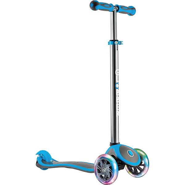 Трехколесный самокат Globber My Free Up Titanium Lights, голубойСамокаты<br>Характеристики:<br><br>• возраст: от 3 лет;<br>• цвет: голубой;<br>• максимальная нагрузка: 50 кг;<br>• колеса: все светодиодные;<br>• материал колес: полиуретан;<br>• диаметр колес: передние 121 мм, задние 80 мм;<br>• подшипник высокопрочный ABEC 5;<br>• наклон передних колес: 90°;<br>• тормозная система: ножной тормоз;<br>• рулевая стойка: регулируемая, съемная, алюминиевая;<br>• ручки: мягкая термопластичная резина;<br>• высота регулировки руля: 4 позиции (от 67,5 до 82,5см);<br>•размер платформы: ширина 12 см, длина 32 см;<br>• размеры упаковки: 59х16,5х26 см;<br>• вес самоката: 2,6 кг; <br>• страна бренда: Франция.<br><br>Трехколесный самокат Globber «My Free Up Titanium Lights» (Глобер Май Фри УП Титанум Лайц) имеет регулировку руля по высоте, ножной тормоз и удобную платформу, что позволит освоить навыки катания и держать равновесие. Три колеса, крепкая и низкая дека обеспечат ребенку стабильность и комфорт.<br><br>Система блокировки - разблокировки колес и усилитель руля позволяют постепенно обучаться поворотам. Поворот руля производится наклоном, что делает поездки безопасными.<br><br>Дизайн в стиле TITANIUM - имеет особый отличительный признак: хромированные колеса с оригинальным рисунком дисков и анодированный руль. Светящиеся светодиодные колеса изготовлены из высококачественного полиуретана, что обеспечивает мягкий ход самоката.<br><br>Трехколесный самокат Globber «My Free Up Titanium Lights» (Глобер Май Фри УП Титанум Лайц), голубой можно приобрести в нашем интернет-магазине.