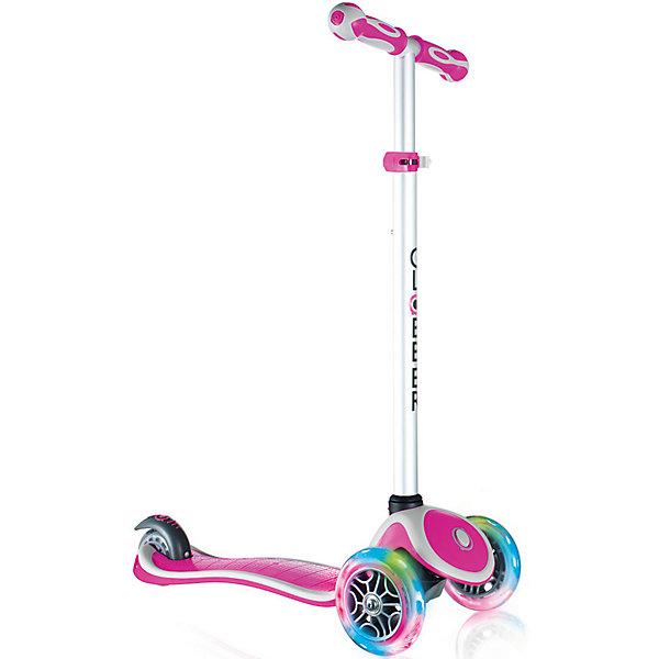 Трехколесный самокат Globber «Primo Plus Lights», розовыйСамокаты<br>Характеристики:<br><br>• возраст: от 3 лет;<br>• цвет: розовый;<br>• максимальная нагрузка: 50 кг;<br>• колеса: передние светодиодные;<br>• материал колес: полиуретан;<br>• диаметр колес: передние 121 мм, задние 80 мм;<br>• подшипник высокопрочный ABEC 5;<br>• тормозная система: ножной тормоз;<br>• ручки: мягкая двухкомпонентная термопластичная резина;<br>• 4 положения руля от 67,5 до 82,5 см;<br>• рулевая стойка: алюминиевая, регулируемая, съемная;<br>• минимальный рост: 96 см;<br>• дека: двухкомпонентный армированный нейлон;<br>• размер деки: ширина 12 см, длина 32 см;<br>• размеры упаковки: 59х16,5х26 см;<br>• без складной конструкции;<br>• вес самоката: 2,6 кг;<br>• страна бренда: Франция.<br><br>Трехколесный самокат Globber «Primo Plus Lights»(Глобер Примо Плюс Лайц) имеет регулировку руля по высоте, ножной тормоз и удобную платформу, что позволит освоить навыки катания и держать равновесие. Три колеса, крепкая и низкая дека обеспечат ребенку стабильность и комфорт. Особенностью данной модели являются светящиеся передние колеса.<br><br>Самокат оснащен кнопкой для блокировки колес, что способствует облегчению в обучении катанию. Самокат обладает регулируемым Т-образным рулем, который легко адаптируется к росту ребенка. Колеса самоката выполнены из высококачественного полиуретана с нейлоновыми покрытиями  имеют отличный отскок, а ручки из мягкой термопластичной резины. <br><br>Мягкий и плавный задний тормоз, обеспечивающий торможение, предотвращающее износ заднего колеса.<br><br>Трехколесный самокат Globber «Primo Plus Lights» (Глобер Примо Плюс Лайц), розовый можно приобрести в нашем интернет-магазине.<br>Ширина мм: 590; Глубина мм: 165; Высота мм: 260; Вес г: 3100; Цвет: розовый/розовый; Возраст от месяцев: 36; Возраст до месяцев: 2147483647; Пол: Женский; Возраст: Детский; SKU: 8304728;
