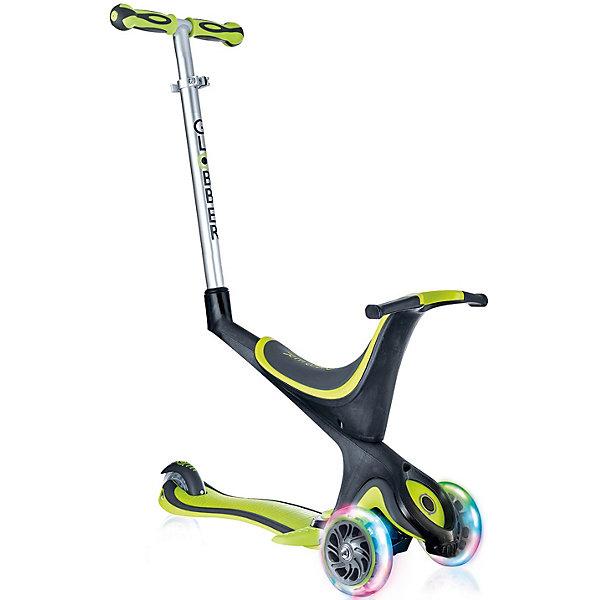Трехколесный самокат Globber «Evo 5 In 1 Lights», зеленыйСамокаты<br>Характеристики:<br><br>• возраст: от 12 мес.;<br>• цвет: зеленый;<br>• максимальная нагрузка: 50 кг;<br>• максимальная нагрузка сидя: 20 кг;<br>• колеса: передние светодиодные;<br>• материал колес: полиуретан;<br>• диаметр колес: передние 121 мм, задние 80 мм;<br>• подшипник высокопрочный ABEC 5;<br>• блокировка: передняя встроенная;<br>• тормозная система: ножной тормоз;<br>• рулевая стойка: регулируемая, съемная, алюминиевая;<br>• ручки: мягкая термопластичная резина;<br>• высота регулировки: 2 позиции для сиденья (23/30 см) в режиме каталки и 3 позиции для руля (от 67,5 до 77,5 см);<br>• высота самоката: 91,5 см;<br>• ширина руля: 27см;<br>• минимальный рост: 70 см;<br>• складной механизм;<br>• дека: армированный нейлон с антискользящей поверхностью;<br>• размер деки: ширина 12 см, длина 32 см;<br>• размеры упаковки: 57х19,5х26 см;<br>• вес с каталкой и ручкой: 3,84 кг;<br>• вес самоката: 3,2 кг; <br>• страна бренда: Франция.<br><br>Самокат Globber«Evo 5 In 1 Lights» (Глобер Ева 5 в 1 Лайц) совмещает в себе три функции в 5 разных формах и готов быть верным спутником для детей по мере их знакомства с самокатным миром. Светящиеся колеса со светодиодами изготовлены из полиуретана, что обеспечивает мягкий ход самоката. Самокат имеет съемное сидение, что служит отличным трициклом для годовалых детей.<br><br>Самокат легко регулируется по высоте ребенка и оснащен алюминиевым рулем, который регулируется по высоте и имеет встроенную блокировку рулевого управления, с ее помощью можно быстро и безопасно научиться кататься. Также регулируется родительская ручка. Безопасность обеспечивает эргономичное сиденье, из которого ребенок не выпадет, а также более длинный тормоз. <br><br>Трехколесный самокат Globber «Evo 5 In 1 Lights» (Глобер Ева 5 в 1 Лайц), зеленый можно приобрести в нашем интернет-магазине.<br>Ширина мм: 570; Глубина мм: 265; Высота мм: 235; Вес г: 4750; Цвет: зеленый; Возраст от месяцев: 12; Воз