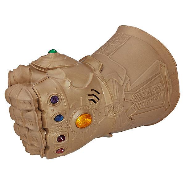 Интерактивная перчатка Avengers Мстители ТаносДругие наборы<br>Характеристики:<br><br>• возраст: от 5 лет;<br>• материал: пластик;<br>• длина перчатки: 25 см;<br>• звук и свет: да; <br>• тип батареек: 2хААА;<br>• наличие батареек: в комплекте;<br>• вес упаковки: 500 гр.;<br>• размер упаковки: 20х30х12 см;<br>• страна бренда: США.<br><br>Перчатка бесконечности Hasbro создана по фильму «Мстители: Война бесконечности». Надев перчатку, ее владелец станет повелителем всех миров и сможет изменять реальность. Дизайн перчатки точно повторяет прототип. Внешний вид детально проработан, есть звуковые и световые эффекты. Сделано из качественных безопасных материалов.<br><br>Перчатку бесконечности, «Мстители: Война бесконечности» можно купить в нашем интернет-магазине.<br>Ширина мм: 64; Глубина мм: 203; Высота мм: 305; Вес г: 500; Возраст от месяцев: 60; Возраст до месяцев: 2147483647; Пол: Мужской; Возраст: Детский; SKU: 8306081;
