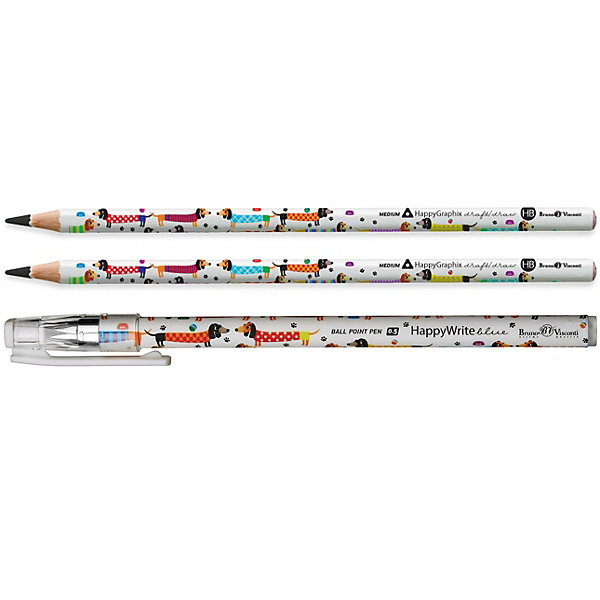 Канцелярский набор Bruno Visconti Таксы, 3 предметаКанцелярские наборы<br>Характеристики:<br><br>• возраст: от 6 лет;<br>• материал: пластик, дерево;<br>• в набор входят: шариковая ручка, 2 простых карандаша.<br>• размер упаковки: 18.5х6х2 см.<br><br>Канцелярский набор Bruno Visconti Таксы включает в себя шариковую ручку — идеальное решение для любителей тонкого и чистого письма. В стержнях используются качественные пигментные чернила синего цвета, дающие четкую и непрерывную линию на бумаге любого типа.<br><br>Защитный колпачок с клип-зажимом удобно фиксировать в кармане, пенале или отделении ежедневника.<br><br>Чернографитовые карандаши предназначены для черчения и рисования, они имеют целый ряд преимуществ, это:<br>• специальным образом обработанная древесина,<br>• многослойная покраска корпуса (от 13 до 18 раз),<br>• ударопрочный грифель,<br>• все карандаши предварительно заточены,<br>• легко стирается ластиком.<br><br>Канцелярский набор Bruno Visconti Таксы, 3 предмета можно купить в нашем интернет-магазине.<br>Ширина мм: 185; Глубина мм: 55; Высота мм: 2; Вес г: 13; Цвет: белый; Возраст от месяцев: 72; Возраст до месяцев: 2147483647; Пол: Унисекс; Возраст: Детский; SKU: 8306187;