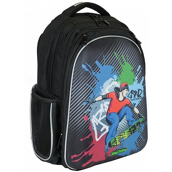 Рюкзак Stoody, SkaterРюкзаки<br>Характеристики:<br><br>• школьный рюкзак для учеников 5-8 класса;<br>• эргономичная вентилируемая жесткая спинка; <br>• жесткая передняя панель из EVA;<br>• плотное дно с ножками из прочного пластика;<br>• регулируемые лямки с грудной стяжкой и карманом для карточек;<br>• мягкая ручка для переноски ранца в руках;<br>• светоотражающие элементы;<br>• материал: 600D полиэстер, пластик;<br>• размер ранца: 40х30х20 см;<br>• вес: 900 г.<br><br>Функциональный школьный рюкзак Stoody – вместительный рюкзак с большим количеством отделений и карманов. Спинка ранца с вентилируемыми вставками. Лямки рюкзака регулируются, позволяют удобно расположить рюкзак на спине. Светоотражающие элементы расположены спереди, сбоку, на плечевых лямках Три отделения, каждое застегивается на молнию. <br><br>Предусмотрен органайзер: кармашки расположены таким образом, чтобы всё было на виду. Имеется крепление для ключей, кармашки-косметички на молнии. Два глубоких боковых кармана на молнии в области третьего отделения, а также два боковых сетчатых кармана на резинке. Рюкзак вместительный и стильный. <br><br>Рюкзак Stoody, Skater можно купить в нашем интернет-магазине.<br>Ширина мм: 300; Глубина мм: 200; Высота мм: 400; Вес г: 900; Цвет: черный; Возраст от месяцев: 72; Возраст до месяцев: 2147483647; Пол: Мужской; Возраст: Детский; SKU: 8316028;