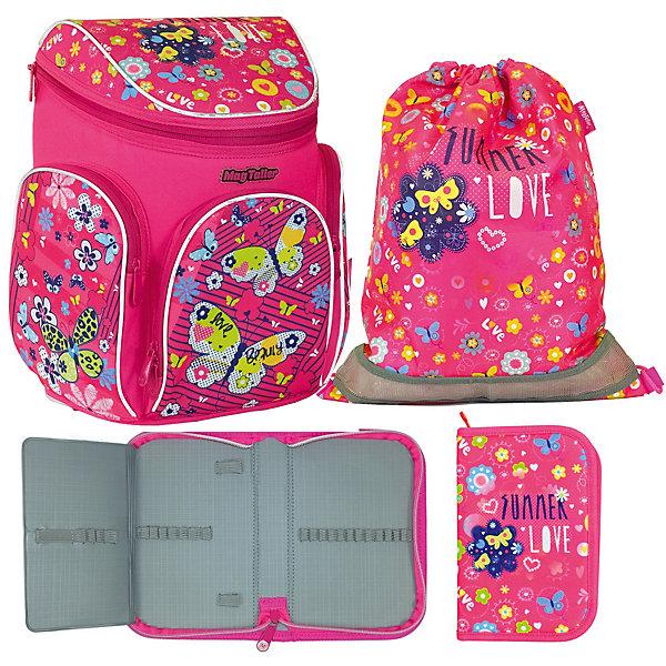 Ранец Boxi, Butterfly с наполнениемРанцы<br>Характеристики:<br><br>• школьный рюкзак для учениц начальных классов;<br>• корпус усилен пластиковым каркасом;<br>• эргономичная спинка с мягкими подушечками;<br>• вентилируемая спинка;<br>• регулируемые лямки;<br>• клапан на молнии;<br>• светоотражающие элементы;<br>• материал: 600D полиэстер, дно из PVC, пластиковый каркас;    <br>• наполнение: пенал пустой, мешок для обуви;<br>• размер ранца: 38х29х19 см;<br>• вес: 850 г.<br><br>Усиленный каркас школьного ранца продлевает жизнь изделию, книжки и папки надежно сохранены и защищены от влаги и сырости. Ранец на одно отделение с подвижной перегородкой и навесным кармашком на молнии, имеется отделение для расписания уроков. Дополнительные карманы: передний карман с органайзером и два боковых кармана на молнии. Светоотражающие элементы спереди, сбоку, на плечевых лямках. Ранец с наполнением: пенал и мешок для обуви выполнены в одном стиле с ранцем. <br><br>Ранец Boxi, Butterfly с наполнением можно купить в нашем интернет-магазине.<br>Ширина мм: 290; Глубина мм: 190; Высота мм: 380; Вес г: 1137; Цвет: розовый; Возраст от месяцев: 72; Возраст до месяцев: 2147483647; Пол: Женский; Возраст: Детский; SKU: 8316040;