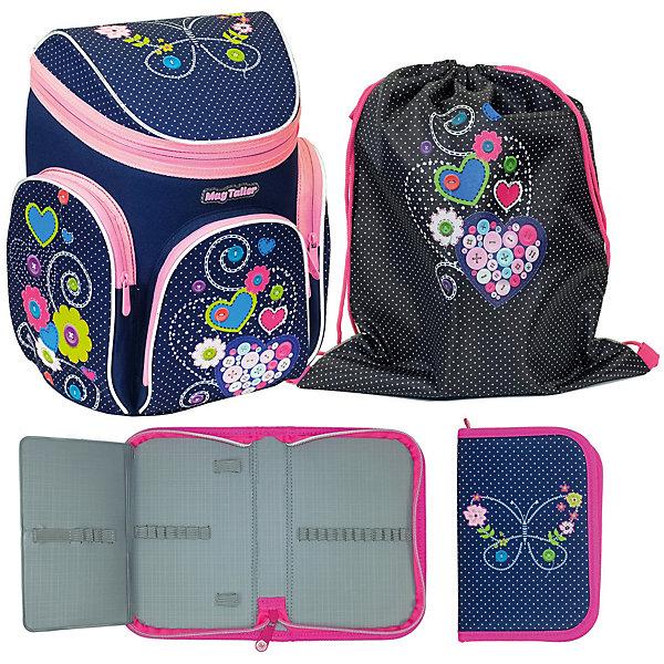 Ранец Boxi, Hearts с наполнениемРанцы<br>Характеристики:<br><br>• школьный рюкзак для учениц начальных классов;<br>• корпус усилен пластиковым каркасом;<br>• эргономичная спинка с мягкими подушечками;<br>• вентилируемая спинка;<br>• регулируемые лямки;<br>• клапан на молнии;<br>• светоотражающие элементы;<br>• материал: 600D полиэстер, дно из PVC, пластиковый каркас;    <br>• наполнение: пенал пустой, мешок для обуви;<br>• размер ранца: 38х29х19 см;<br>• вес: 850 г.<br><br>Усиленный каркас школьного ранца продлевает жизнь изделию, книжки и папки надежно сохранены и защищены от влаги и сырости. Ранец на одно отделение с подвижной перегородкой и навесным кармашком на молнии, имеется отделение для расписания уроков. Дополнительные карманы: передний карман с органайзером и два боковых кармана на молнии. Светоотражающие элементы спереди, сбоку, на плечевых лямках. Ранец с наполнением: пенал и мешок для обуви выполнены в одном стиле с ранцем. <br><br>Ранец Boxi, Hearts с наполнением можно купить в нашем интернет-магазине.<br>Ширина мм: 290; Глубина мм: 190; Высота мм: 380; Вес г: 1137; Цвет: фиолетовый; Возраст от месяцев: 72; Возраст до месяцев: 2147483647; Пол: Женский; Возраст: Детский; SKU: 8316046;