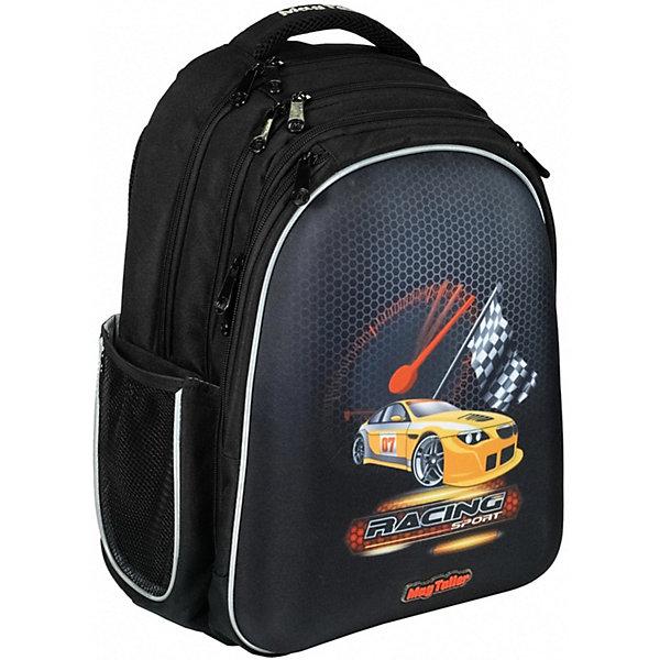 Рюкзак Stoody, RacingРюкзаки<br>Характеристики:<br><br>• школьный рюкзак для учеников 5-8 класса;<br>• эргономичная вентилируемая жесткая спинка; <br>• жесткая передняя панель из EVA;<br>• плотное дно с ножками из прочного пластика;<br>• регулируемые лямки с грудной стяжкой и карманом для карточек;<br>• мягкая ручка для переноски ранца в руках;<br>• светоотражающие элементы;<br>• материал: 600D полиэстер, пластик;<br>• размер ранца: 40х30х20 см;<br>• вес: 900 г.<br><br>Функциональный школьный рюкзак Stoody – вместительный рюкзак с большим количеством отделений и карманов. Спинка ранца с вентилируемыми вставками. Лямки рюкзака регулируются, позволяют удобно расположить рюкзак на спине. Светоотражающие элементы расположены спереди, сбоку, на плечевых лямках Три отделения, каждое застегивается на молнию. <br><br>Предусмотрен органайзер: кармашки расположены таким образом, чтобы всё было на виду. Имеется крепление для ключей, кармашки-косметички на молнии. Два глубоких боковых кармана на молнии в области третьего отделения, а также два боковых сетчатых кармана на резинке. Рюкзак вместительный и стильный. <br><br>Рюкзак Stoody, Racing можно купить в нашем интернет-магазине.<br>Ширина мм: 300; Глубина мм: 200; Высота мм: 400; Вес г: 900; Цвет: черный; Возраст от месяцев: 72; Возраст до месяцев: 2147483647; Пол: Мужской; Возраст: Детский; SKU: 8316068;