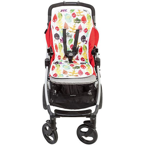 Mammie Хлопковый матрасик в коляску двухсторонний, цвет листики матрасик в коляску матрас teutonia seat cover цвет 6060