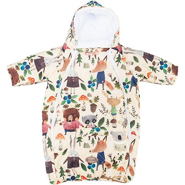 Купить Конверт для новорожденного с рукавами, цвет зверята на бежевом, Mammie, Россия, бежевый, Унисекс