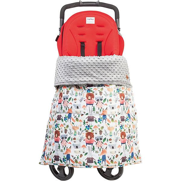 Mammie Одеяло-накидка на ноги в коляску Mammie, цвет зверята на сером mammie конверт кокон mammie демисезон красный горошек