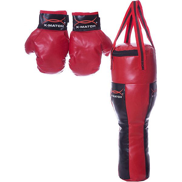 Набор для Бокса X-match, большая грушаГруши и перчатки<br>Характеристики товара:<br><br>• возраст: от 5 лет;<br>• цвет: черно-красный;<br>• материал: полимер;  <br>•размер упаковки: 20х15х61см;<br>•упаковка: сетка;<br>• страна бренда: Китай;<br>• бренд: X-Match.<br><br>Набор для бокса от бренда X-match в точности повторяет те наборы, что используют профессиональные боксеры на тренировках, чтобы отрабатывать точность удара! <br><br>С ним ребенок может почувствовать себя настоящим боксером. В качестве тренера может выступить папа или старший брат. Перчатки на липучках можно быстро надеть или снять, с этим малыш справится самостоятельно.<br><br>В комплект набора входит груша с подвесом и пара перчаток для отрабатывания навыков ближнего боя. Длина груши составляет 48 см, а длина перчатки – 23 см.<br><br>Набор для бокса X-Match можно купить в нашем интернет-магазине.<br>Ширина мм: 480; Глубина мм: 250; Высота мм: 170; Вес г: 1020; Цвет: красный; Возраст от месяцев: 36; Возраст до месяцев: 2147483647; Пол: Мужской; Возраст: Детский; SKU: 8316883;