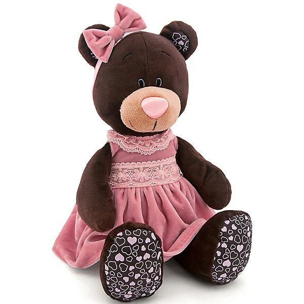 Мягкая игрушка Orange Choco&amp;Milk Медвежонок Milk в розовом бархатном платье, 25 смПлюшевые медведи<br>Характеристики:<br><br>• возраст: от 3 лет;<br>• материал: текстиль, наполнитель, пластик;<br>• цвет: коричневый;<br>• высота игрушки: 30 см;<br>• размер: 27,5х13,5х20 см;<br>• вес: 280 гр;<br>• страна бренда: Россия;<br>• бренд: Orange Toys.<br> <br>Игрушка Milk сидячая в розовом бархатном платье от торговой марки Orange может понравиться многим девочкам и даже стать для ребенка настоящей плюшевой подружкой. Все мишки коллекции Choco&amp;Milk выполнены из экологически чистых материалов, имеют все сертификаты. <br><br>Игрушку  Milk сидячая в розовом бархатном платье можно купить в нашем интернет-магазине.<br>Ширина мм: 275; Глубина мм: 135; Высота мм: 200; Вес г: 280; Цвет: коричневый; Возраст от месяцев: 36; Возраст до месяцев: 168; Пол: Унисекс; Возраст: Детский; SKU: 8316909;