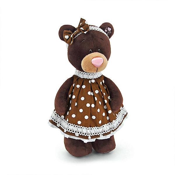 Мягкая игрушка Orange Choco&amp;Milk Медвежонок Milk стоячая в платье в горох, 30 смМягкие игрушки животные<br>Характеристики:<br><br>• возраст: от 3 лет;<br>• материал: плюш;<br>• цвет: коричневый;<br>• высота игрушки: 25 см;<br>• размер: 33,5х14х11,5 см;<br>• вес: 250 гр;<br>• страна бренда: Россия;<br>• бренд: Orange Toys.<br> <br>Игрушка Milk стоячая в платье в горох от торговой марки Orange будет прекрасным подарком любой девочке. Горошек актуален во все времена и сезоны! Milk знает это, и потому выбрала для себя прекрасное платье в белый горох. Оно отлично подойдет для любого случая - и обычной прогулки, и даже званого ужина<br> <br>Игрушку  Milk стоячая в платье в горох можно купить в нашем интернет-магазине.<br>Ширина мм: 325; Глубина мм: 135; Высота мм: 115; Вес г: 250; Цвет: коричневый; Возраст от месяцев: 36; Возраст до месяцев: 168; Пол: Унисекс; Возраст: Детский; SKU: 8316915;