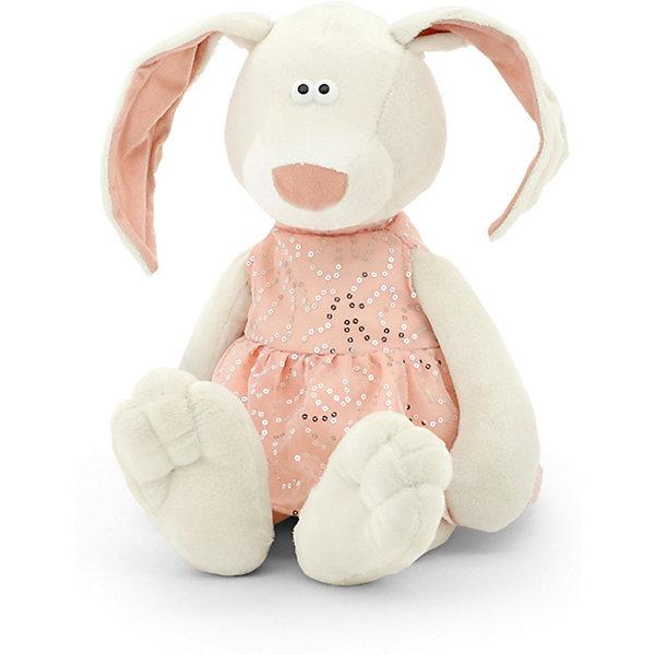 Мягкая игрушка Orange Toys Зайка Маша, 25 смМягкие игрушки животные<br>Характеристики:<br><br>• возраст: от 3 лет;<br>• материал: плюш, искусственный мех, текстиль, наполнитель, пластик;<br>• цвет: серый;<br>• высота игрушки: 25 см;<br>• размер: 12х11х33 см;<br>• вес: 180 гр;<br>• страна бренда: Россия;<br>• бренд: Orange Toys.<br> <br>Игрушка Зайка Маша -  это мягкая игрушка от компании Orange. Этот симпатичный кроликможет понравиться не только детям, но и взрослым любителям мягких игрушек.Маша одета в розовое платьице, украшенное блестящими пайетками. У нее смешная мордочка, выражение которой зависит, как это ни странно, от положения ушей: если ушки стоят торчком намакушке, то зайка кажется удивленной, а если их опустить – печальной. Положение ушек можноменять.Игрушка сшита из мягкого и приятного на ощупь плюша молочного цвета. Набита она полиэфирнымволокном и полиэтиленовыми гранулами – все материалы гипоаллергенны и безопасны для ребенка.<br><br>Игрушку  Зайка Маша можно купить в нашем интернет-магазине.<br>Ширина мм: 120; Глубина мм: 110; Высота мм: 330; Вес г: 210; Цвет: белый; Возраст от месяцев: 36; Возраст до месяцев: 168; Пол: Унисекс; Возраст: Детский; SKU: 8316977;
