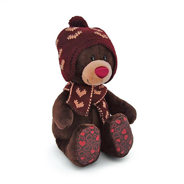 Orange Мягкая игрушка Orange Choco&Milk Медвежонок Choco сидячий в вязанной шапке с сердечками, 25 см