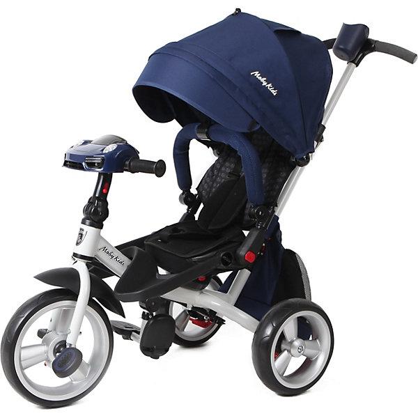 Трехколесный велосипед Moby Kids Leader 360° Air Car 12x10, синийВелосипеды<br>Характеристики товара:<br><br>• возраст: от 3 лет;<br>• материал: метал, алюминий, резина, текстиль;<br>• с разворотным сиденьем Leader 360°;<br>• диаметр переднего колеса - 30 см (12);<br>• диаметр задних колес - 25 см (10);<br>• размер упаковки: 60х32х42 см;<br>• вес: 11 кг.;<br>• страна бренда: Россия;<br>• бренд: Moby Kids.<br><br>Велосипед Moby Kids3 с разворотным сиденьем Leader 360° 12x10 EVA Car имеет переключатель свободного хода переднего колеса. Так ребёнок сможет крутить педали вхолостую отдельно от колеса, привыкая таким образом к новому для него виду движения.<br><br>Ручка велосипеда имеет два положения (ниже-выше), сиденье малыша можно фиксировать в трёх положениях. Удобный складывающийся тент закрывает ребенка от прямых солнечных лучей, а мягкий съемный подголовник повышает комфорт. Сиденье имеет возможность разворачивания на 360 градусов.<br><br>Безопасность ребенка обеспечивает ремень, раздвижная дуга с мягкими подлокотниками, а также ножной тормоз, который приучит малыша самостоятельно тормозить. Ножки ребенок может держать на складных подставках.<br><br>Такой велосипед обязательно понравится малышу своим ярким дизайном, а также интересными дополнениями: светомузыкальной панелью машинка с наклейками и реалистичными автомобильными звуками, весёлая мелодия, а также свет фар.
